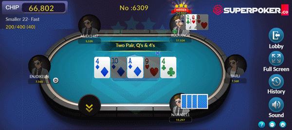 Tampilan Meja Omaha Poker SuperPoker