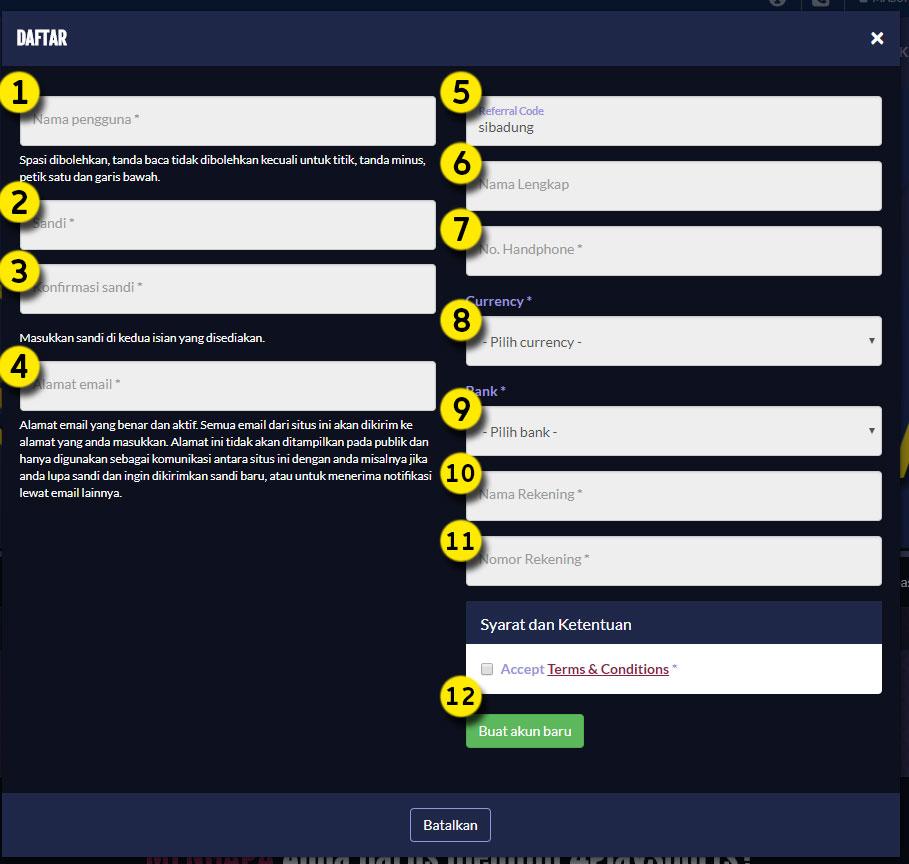 Cara Daftar SuperBola: Formulir Registrasi