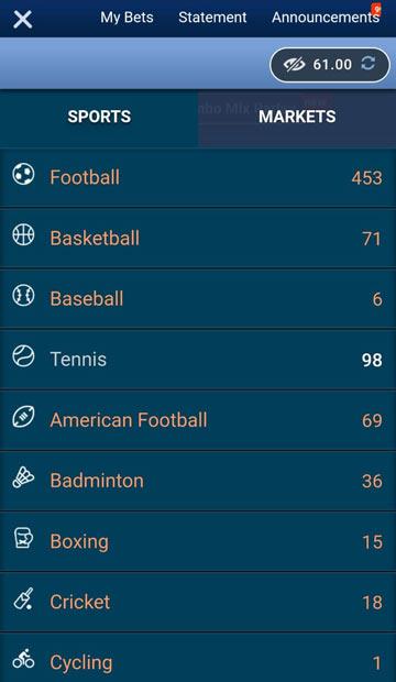 Menu taruhan olahraga SBOBET mobile