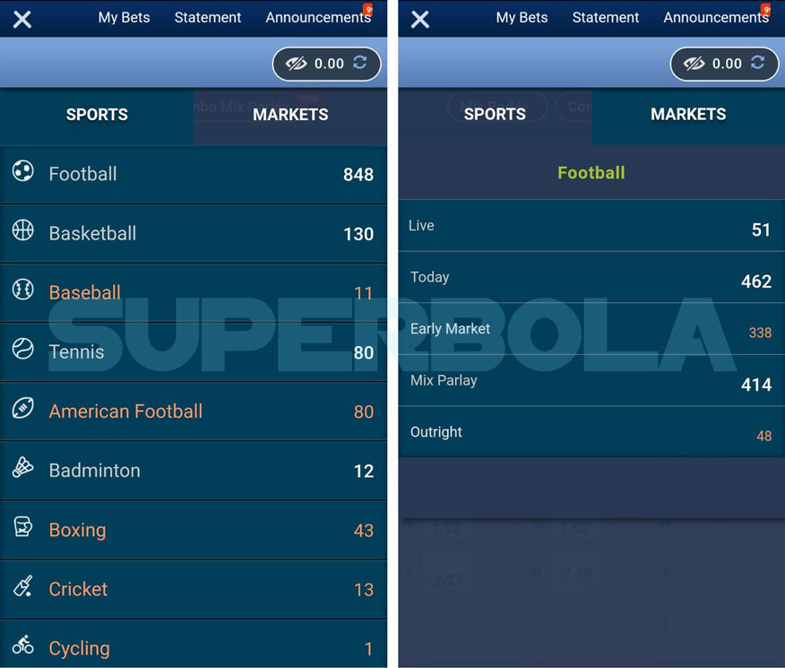 Menu SBOBET Mobile Superbola