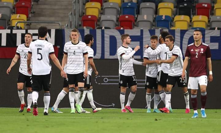 Jerman Vs Latvia: Die Mannschaft Panen Gol Ke Gawang Latvia